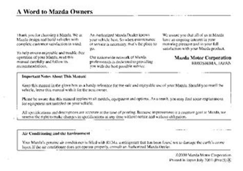 2001 Mazda Mpv Owner S Manual Pdf 360 Pages