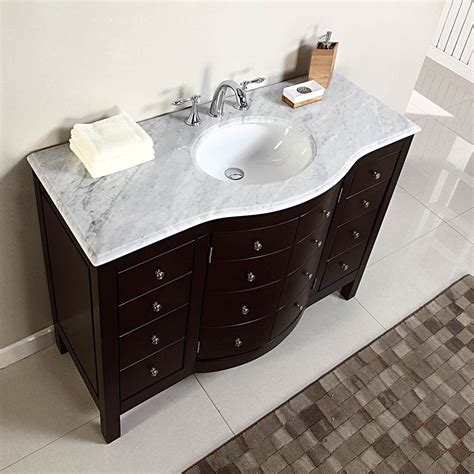 "48"" Single Sink White Marble Top Bathroom Vanity Cabinet"