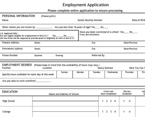 blank employment application template application template free application template
