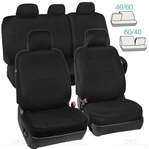 60 40 split bench seat full set black seat covers for car auto suv polyester