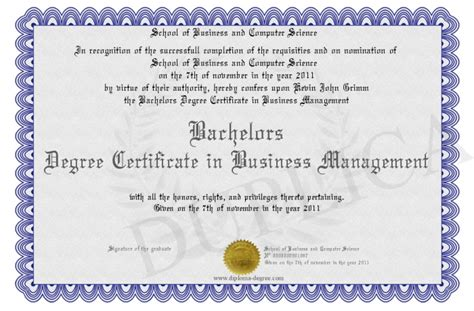 Bachelors Degree Mba by Bachelors Degree Certificate In Business Management