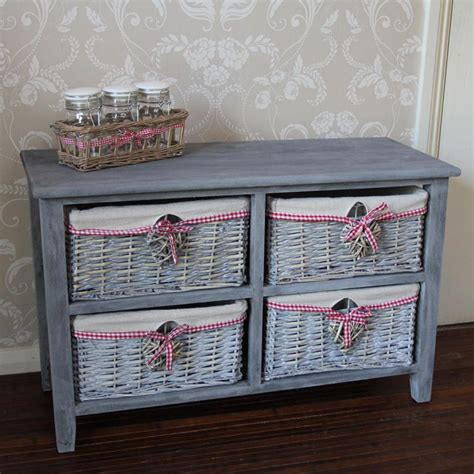 4 Drawer Wicker Storage Unit shabby chic furniture style home accessories