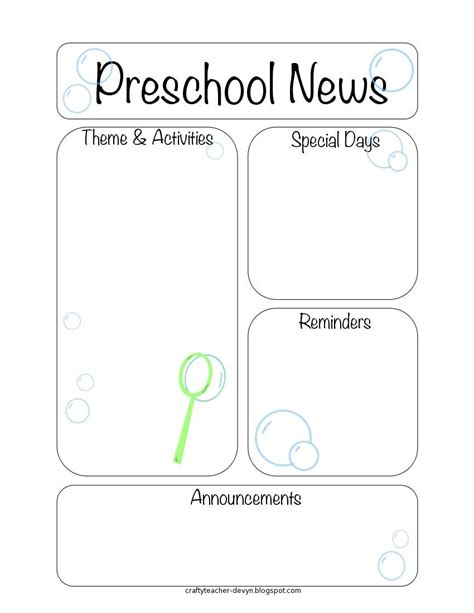 preschool newsletter template the crafty newsletter templates