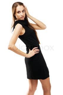 Dress Model Black White Impor fashion model in black dress white background stock photo colourbox