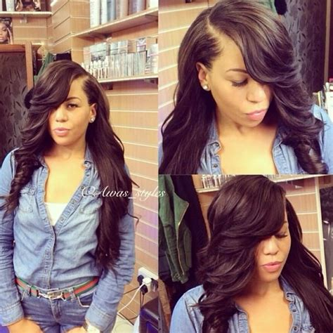 deep part bang yess deep side bang flawless hair curled styles weave