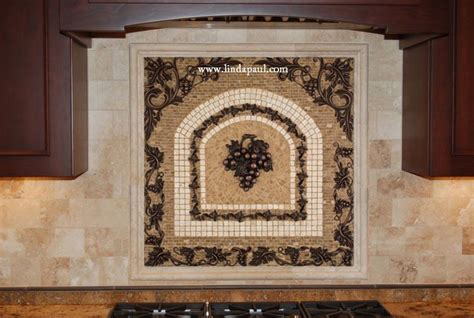 Grapes Mosaic Tile Medallion Kitchen Backsplash Mural Medallion Tile Backsplash