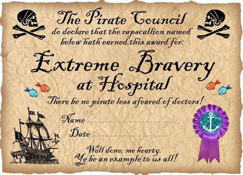 bravery certificate template pirate certificate award for bravery in hospital
