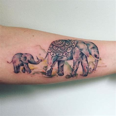elephant mom and baby tattoo elephant designs best ideas meaning