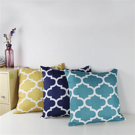 How To Make Sofa Pillow Covers 2015 Canvas Quatrefoil Accent Decorative Throw Pillow Covers Geometric Sofa Cushion Cover 18x18