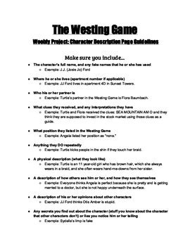 The Westing Game Guidelines for Character Descriptions
