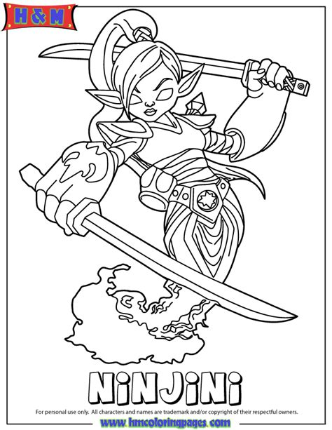 skylanders giants magic series1 ninjini coloring page h