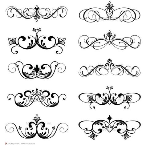 Clipart Wedding Embellishments by Word Clip Wedding Embellishments Digital Clip