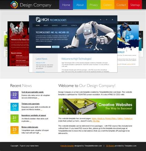 Free Html5 Template For Design Company Website Monsterpost Website Templates Html5