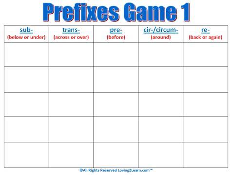 printable prefix games prefixes game 1