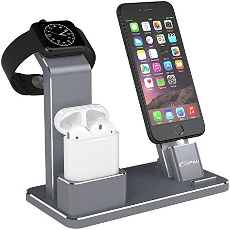 Quality Sale New Apple Airpods With Charging Bnib Aif612 yofew apple iwatch stand aluminum 4 in 1 apple charging stand airpods stand accessories