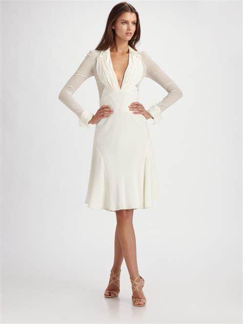 Chiffon Crepe White Dress zac posen crepe chiffon sleeve dress in white lyst