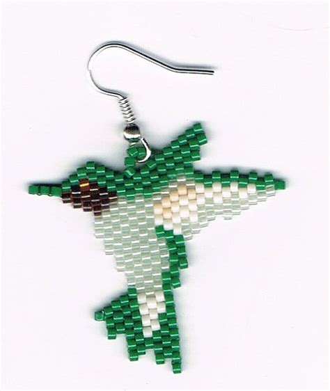 beaded hummingbird dangling earring number 8