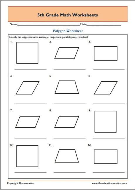 Polygons Worksheets 5th Grade