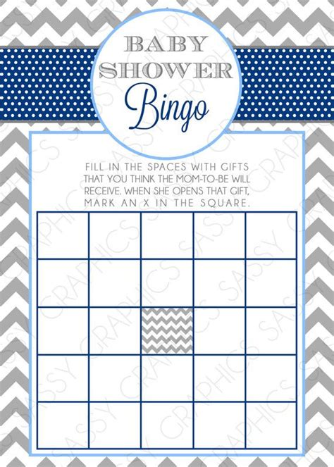instant download boy baby shower bingo card chevron