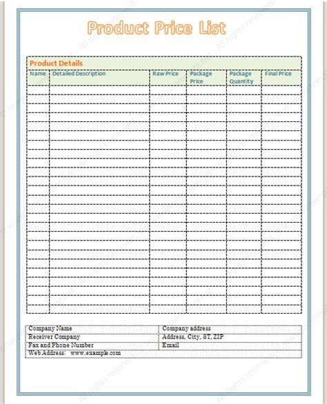 blank price list template free printable price list templates