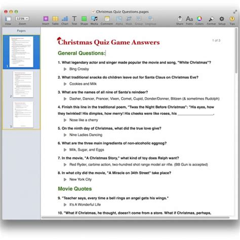 christmas quiz game template for pdf or pages