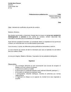 Exemple De Lettre Personnelle Exemple Gratuit De Lettre Demande Modification Permis Conduire Changement Situation Personnelle