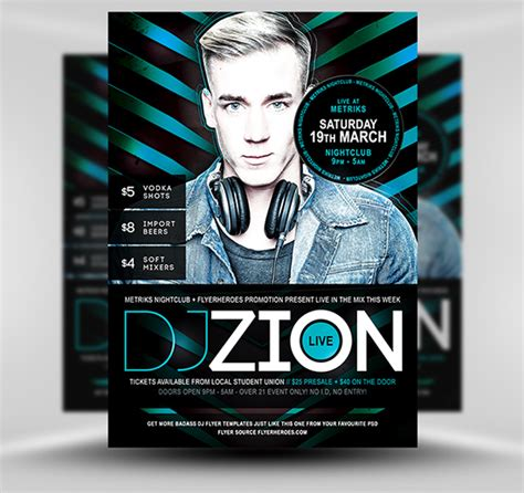 zion free dj nightclub flyer template