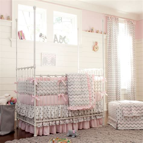 bedroom blankets pink and gray chevron crib bedding carousel designs