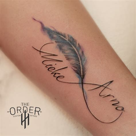 watercolor feather and names tattoo the order the