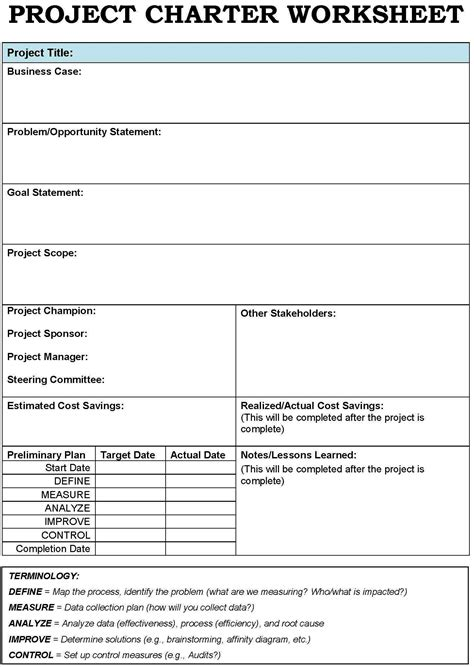 project management project charter template project charter templates search project