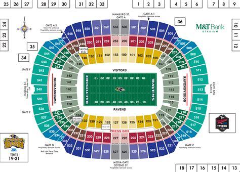 ravens seating baltimore ravens stadium seating chart summer concerts