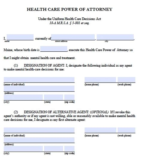 Free Maine Medical Power Of Attorney Form Pdf Template Maine Will Template
