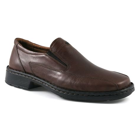 josef seibel mens barker brown leather slip on shoes