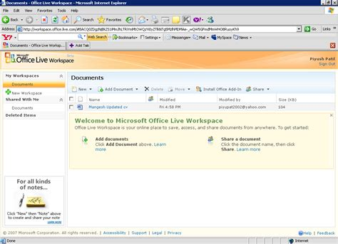microsoft office live workspace free and