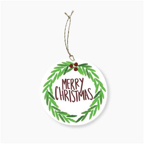 merry christmas wreath  gift tag rosie lou
