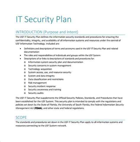 information security plan template sle security plan template 10 free documents in pdf