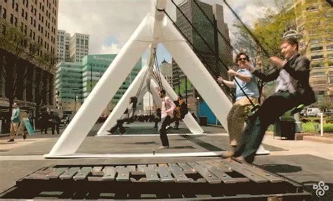 musical swing a giant musical swing set is coming to brookfield place