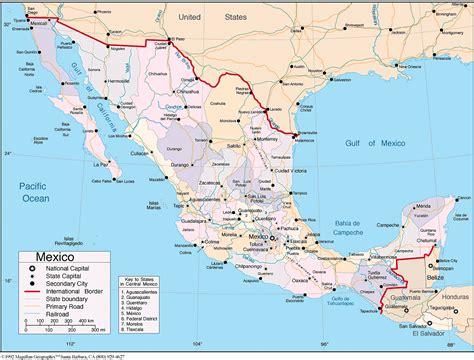 map de mexico y usa mapa de mexico con nombres y capitales