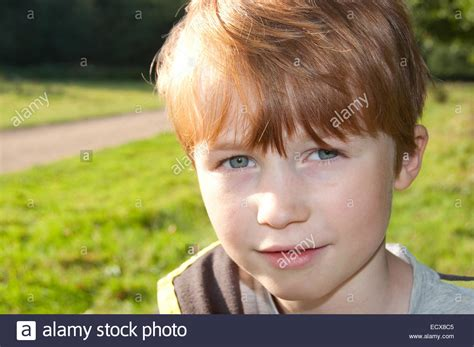 8 years in years headed 8 year boy photographed in norfolk during the summer stock photo