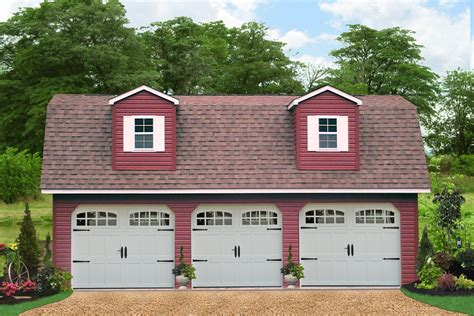 Gambrel Roof Barn Kits Detached Attic Three Car Garage Prices Free Plans