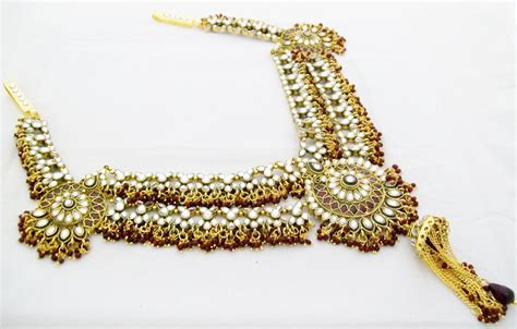 kamarband design elaborate design indian bridal kundan saree waist belt