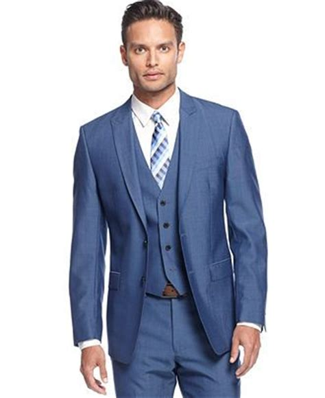 What Color Suit Is Best For Mba by Calvin Klein Medium Blue Vested Slim X Fit Suit Suits