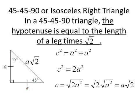 Geometry 5 8 Worksheet Special Right Triangles 45 45 90 Answers