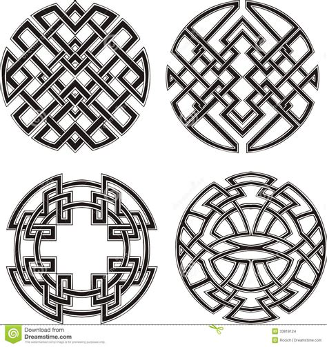Black And White Round Pattern | symmetrical round knot patterns stock images image 33819124