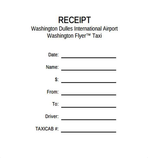 taxi receipts template taxi receipt template 17 free for word pdf
