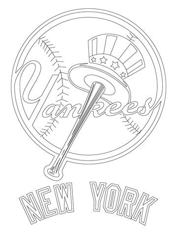 New York Yankees Logo Coloring Page Supercoloring Com New York Yankees Coloring Pages