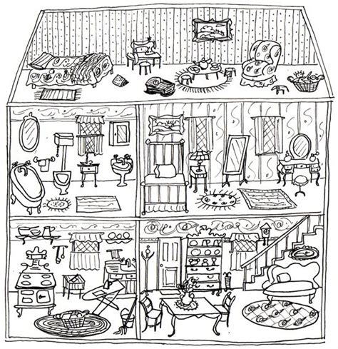 coloring pages of a doll house dollhouse coloring page paper cut figures pinterest