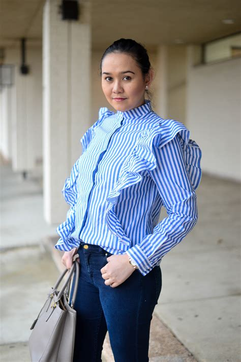 Striped Ruffled Blouse blue striped ruffle blouse simplychristianne