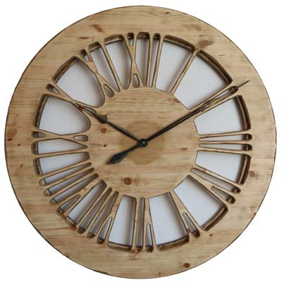 wooden skeleton wall clock with numerals