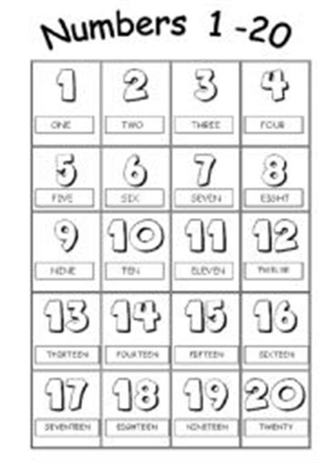 esl printables numbers 1 20 english worksheets numbers from 1 to 20 picture dictionary